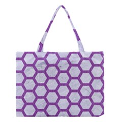 Hexagon2 White Marble & Purple Denim (r) Medium Tote Bag