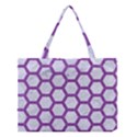 HEXAGON2 WHITE MARBLE & PURPLE DENIM (R) Medium Tote Bag View1