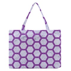 Hexagon2 White Marble & Purple Denim (r) Zipper Medium Tote Bag