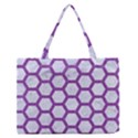 HEXAGON2 WHITE MARBLE & PURPLE DENIM (R) Zipper Medium Tote Bag View1