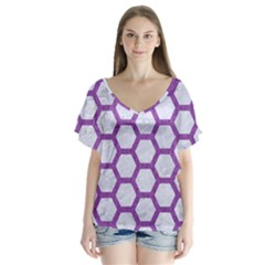 Hexagon2 White Marble & Purple Denim (r) V Neck Flutter Sleeve Top by trendistuff