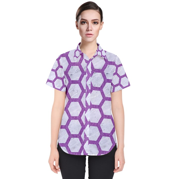 HEXAGON2 WHITE MARBLE & PURPLE DENIM (R) Women s Short Sleeve Shirt
