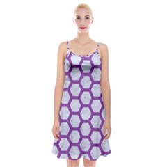 Hexagon2 White Marble & Purple Denim (r) Spaghetti Strap Velvet Dress