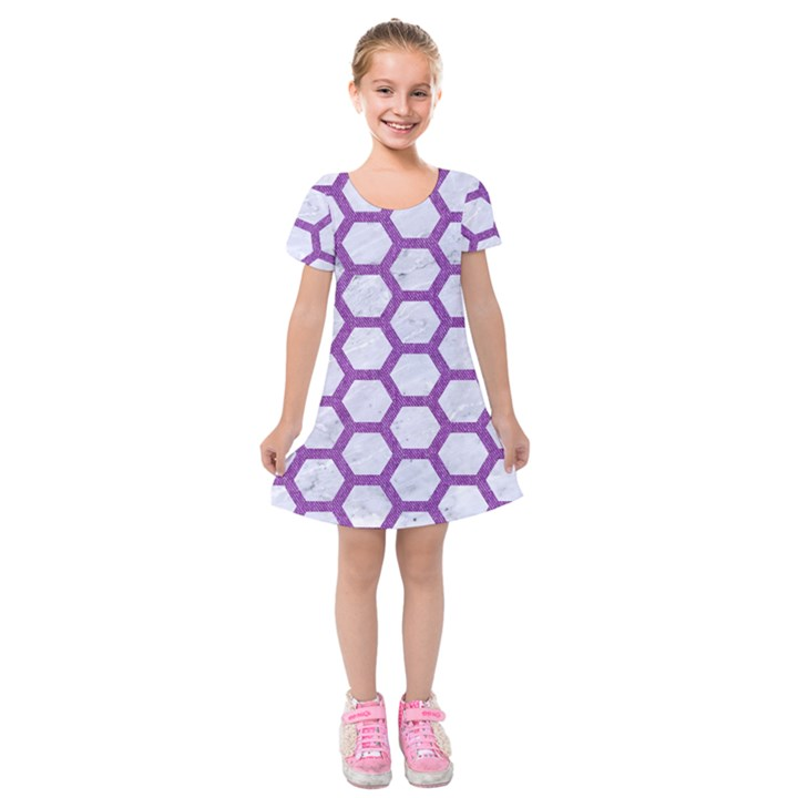 HEXAGON2 WHITE MARBLE & PURPLE DENIM (R) Kids  Short Sleeve Velvet Dress