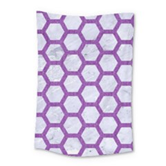 Hexagon2 White Marble & Purple Denim (r) Small Tapestry by trendistuff