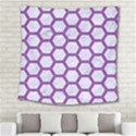 HEXAGON2 WHITE MARBLE & PURPLE DENIM (R) Square Tapestry (Large) View2