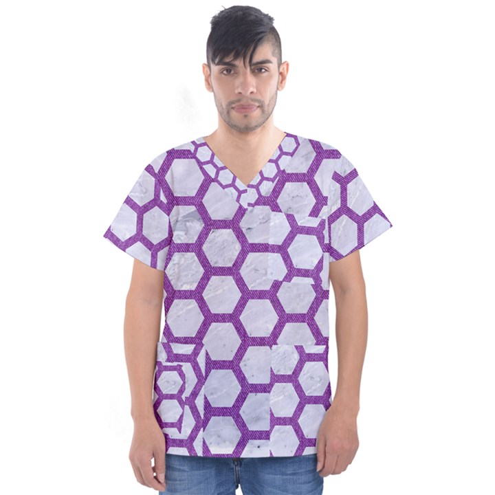 HEXAGON2 WHITE MARBLE & PURPLE DENIM (R) Men s V-Neck Scrub Top