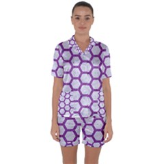 Hexagon2 White Marble & Purple Denim (r) Satin Short Sleeve Pyjamas Set by trendistuff