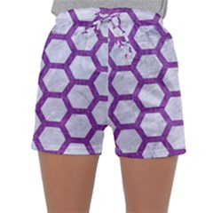 Hexagon2 White Marble & Purple Denim (r) Sleepwear Shorts