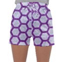 HEXAGON2 WHITE MARBLE & PURPLE DENIM (R) Sleepwear Shorts View1