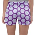HEXAGON2 WHITE MARBLE & PURPLE DENIM (R) Sleepwear Shorts View2
