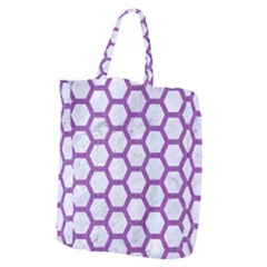 Hexagon2 White Marble & Purple Denim (r) Giant Grocery Zipper Tote
