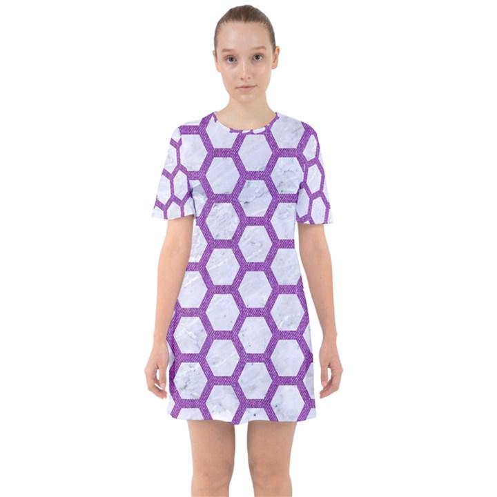 HEXAGON2 WHITE MARBLE & PURPLE DENIM (R) Sixties Short Sleeve Mini Dress