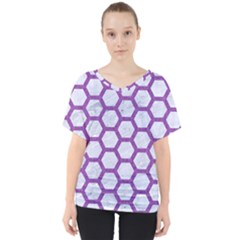 Hexagon2 White Marble & Purple Denim (r) V Neck Dolman Drape Top
