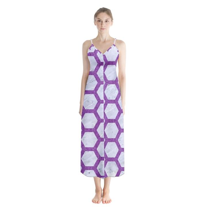 HEXAGON2 WHITE MARBLE & PURPLE DENIM (R) Button Up Chiffon Maxi Dress