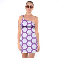 Hexagon2 White Marble & Purple Denim (r) One Soulder Bodycon Dress
