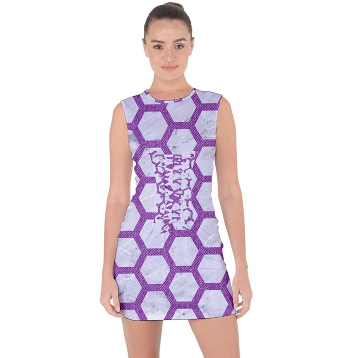 HEXAGON2 WHITE MARBLE & PURPLE DENIM (R) Lace Up Front Bodycon Dress