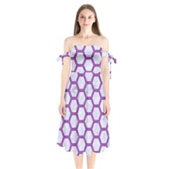Hexagon2 White Marble & Purple Denim (r) Shoulder Tie Bardot Midi Dress