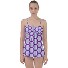Hexagon2 White Marble & Purple Denim (r) Babydoll Tankini Set