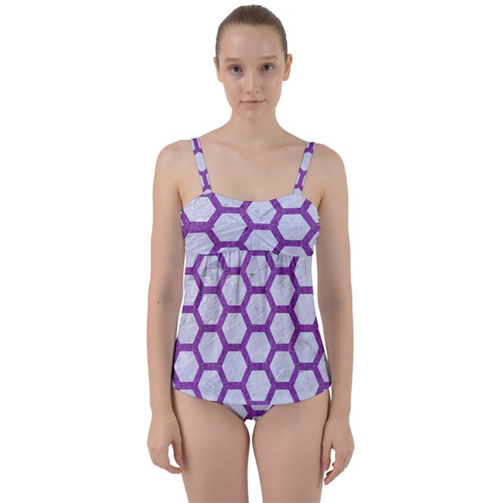 HEXAGON2 WHITE MARBLE & PURPLE DENIM (R) Twist Front Tankini Set