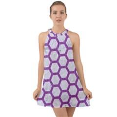 Hexagon2 White Marble & Purple Denim (r) Halter Tie Back Chiffon Dress