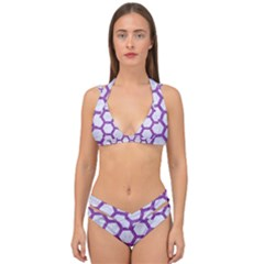 Hexagon2 White Marble & Purple Denim (r) Double Strap Halter Bikini Set