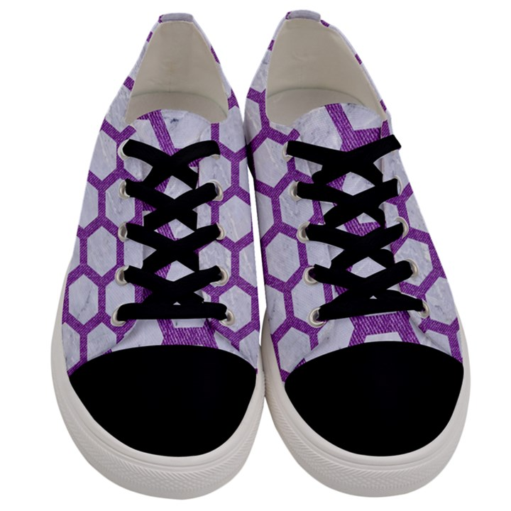 HEXAGON2 WHITE MARBLE & PURPLE DENIM (R) Men s Low Top Canvas Sneakers
