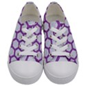 HEXAGON2 WHITE MARBLE & PURPLE DENIM (R) Kids  Low Top Canvas Sneakers View1