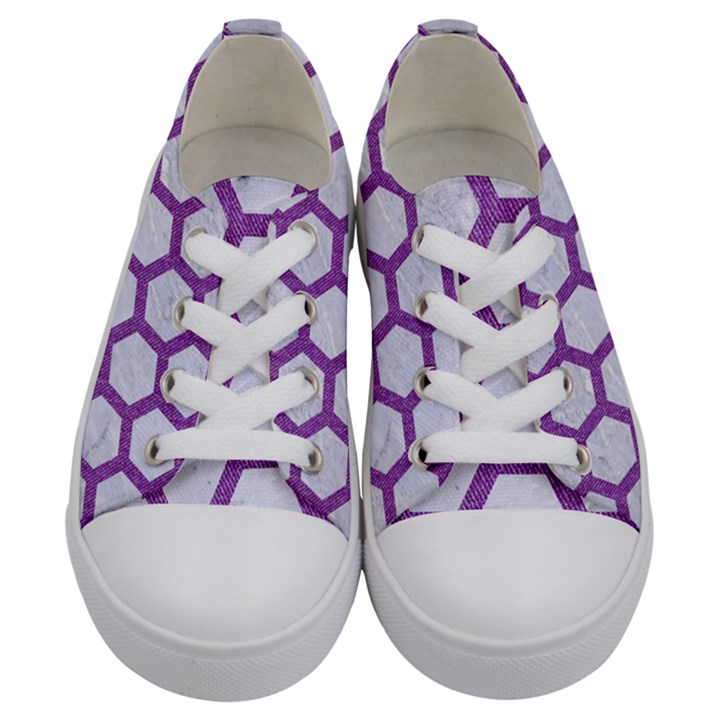 HEXAGON2 WHITE MARBLE & PURPLE DENIM (R) Kids  Low Top Canvas Sneakers