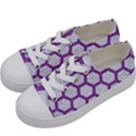 HEXAGON2 WHITE MARBLE & PURPLE DENIM (R) Kids  Low Top Canvas Sneakers View2