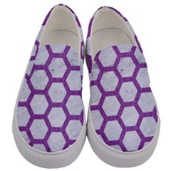 Hexagon2 White Marble & Purple Denim (r) Men s Canvas Slip Ons