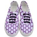 HEXAGON2 WHITE MARBLE & PURPLE DENIM (R) Women s Classic Low Top Sneakers View1