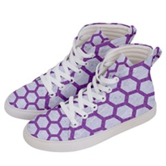 Hexagon2 White Marble & Purple Denim (r) Men s Hi Top Skate Sneakers by trendistuff