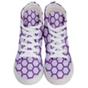 HEXAGON2 WHITE MARBLE & PURPLE DENIM (R) Women s Hi-Top Skate Sneakers View1