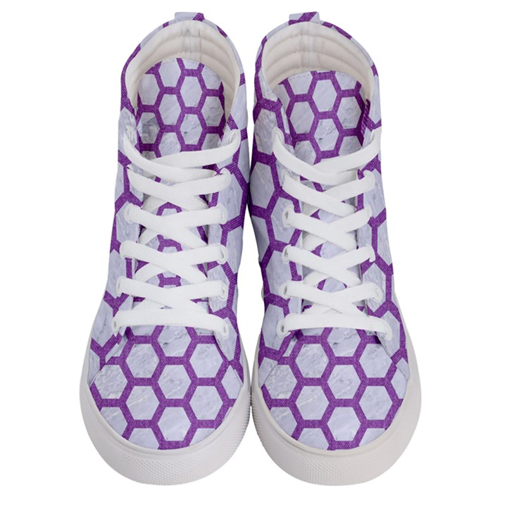 HEXAGON2 WHITE MARBLE & PURPLE DENIM (R) Women s Hi-Top Skate Sneakers