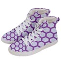 HEXAGON2 WHITE MARBLE & PURPLE DENIM (R) Women s Hi-Top Skate Sneakers View2