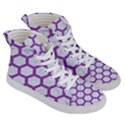 HEXAGON2 WHITE MARBLE & PURPLE DENIM (R) Women s Hi-Top Skate Sneakers View3