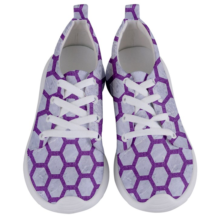 HEXAGON2 WHITE MARBLE & PURPLE DENIM (R) Women s Lightweight Sports Shoes