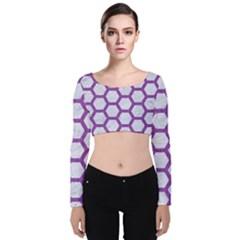Hexagon2 White Marble & Purple Denim (r) Velvet Crop Top
