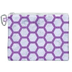Hexagon2 White Marble & Purple Denim (r) Canvas Cosmetic Bag (xxl)