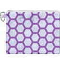 HEXAGON2 WHITE MARBLE & PURPLE DENIM (R) Canvas Cosmetic Bag (XXXL) View1