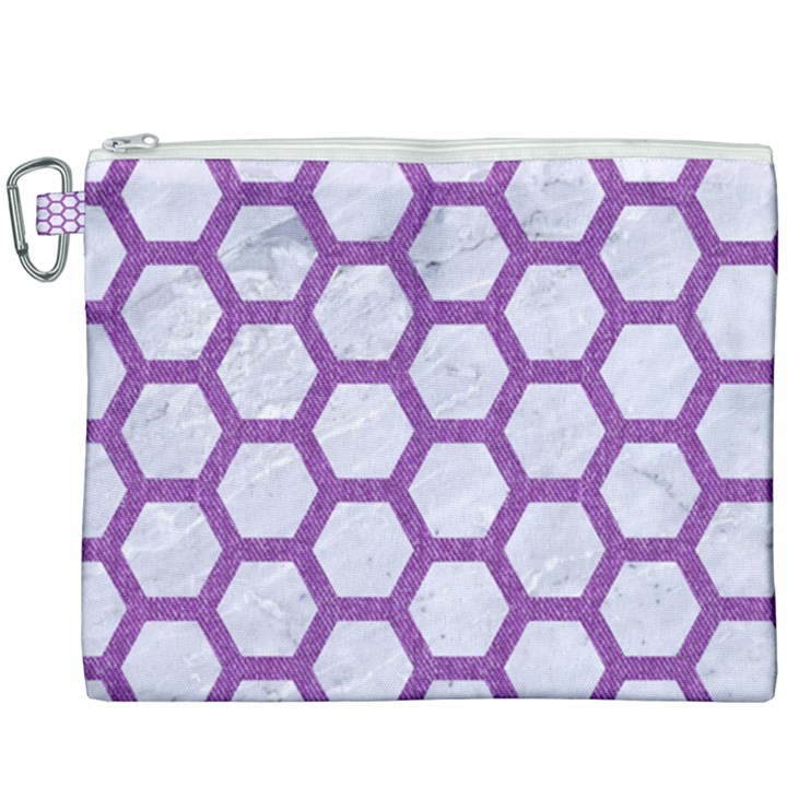 HEXAGON2 WHITE MARBLE & PURPLE DENIM (R) Canvas Cosmetic Bag (XXXL)