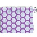 HEXAGON2 WHITE MARBLE & PURPLE DENIM (R) Canvas Cosmetic Bag (XXXL) View2