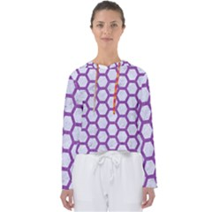 Hexagon2 White Marble & Purple Denim (r) Women s Slouchy Sweat