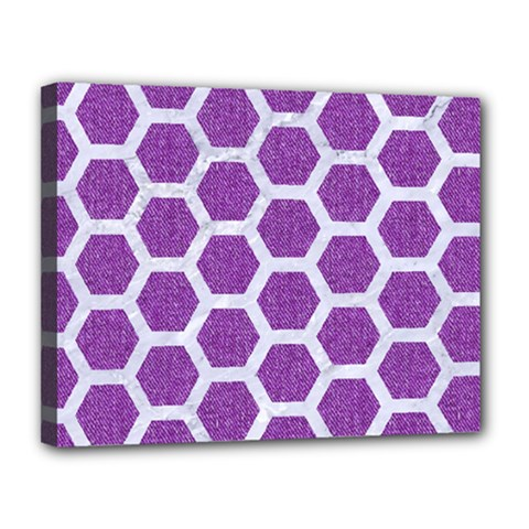Hexagon2 White Marble & Purple Denim Canvas 14  X 11