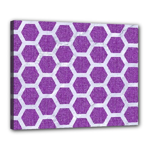 Hexagon2 White Marble & Purple Denim Canvas 20  X 16  by trendistuff