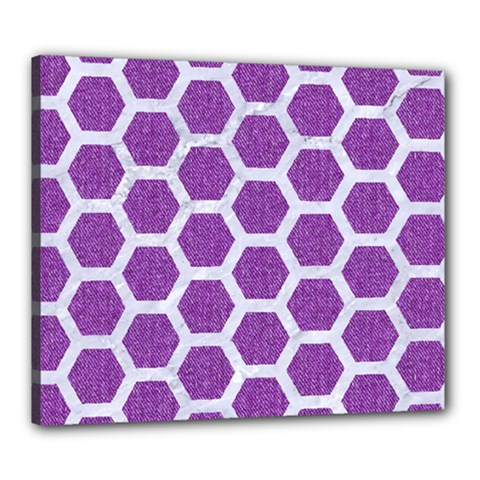 Hexagon2 White Marble & Purple Denim Canvas 24  X 20