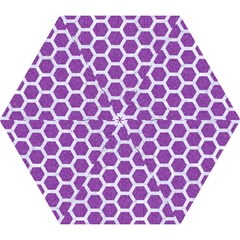 Hexagon2 White Marble & Purple Denim Mini Folding Umbrellas