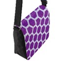 HEXAGON2 WHITE MARBLE & PURPLE DENIM Flap Messenger Bag (S) View2