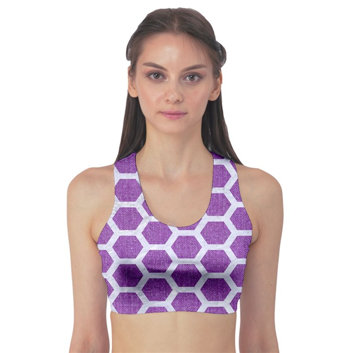 HEXAGON2 WHITE MARBLE & PURPLE DENIM Sports Bra